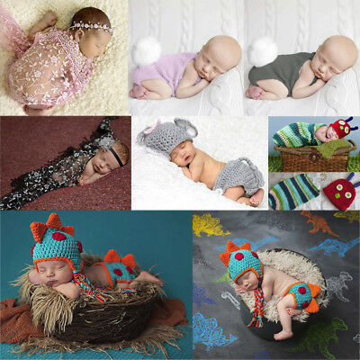 Newborn Baby Girl Boy Crochet Costume Photo Photography Prop Hats Outfits Lot