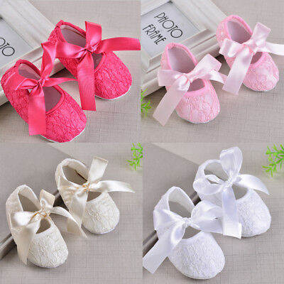 Baby Girl Princess Shoes Infant Toddler Bownot Lace Party Wedding Flat Shoes