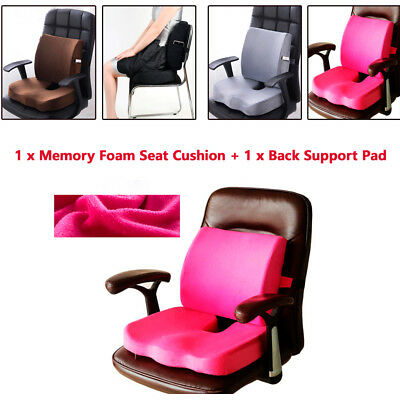 Memory Foam Seat Cushion Lumbar & Back Support Orthoped Car Office Pain Relief