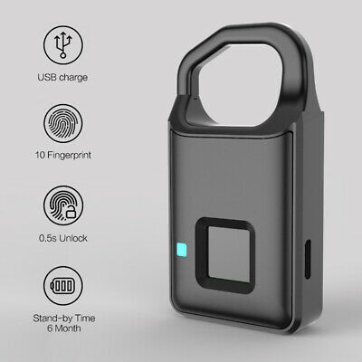 Smart USB Charging Lock Anti-Theft Keyless Lock Fingerprint Padlock Waterproof