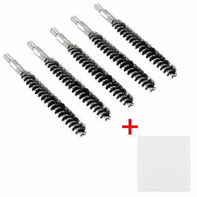 5 Pcs Nylon Bristle Bore Cleaning Brush .243 Caliber 8x32 Thread with 50 Patches