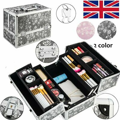Beauty Makeup Train Case Jewelry Box Cosmetic Travel Bag With Mirror Key-Lock