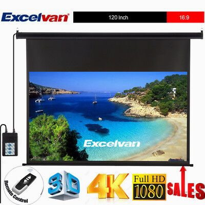 """120"""" Inch 16:9 Electric Motorized HD Projector Projection Screen 3D 4K Theater"""