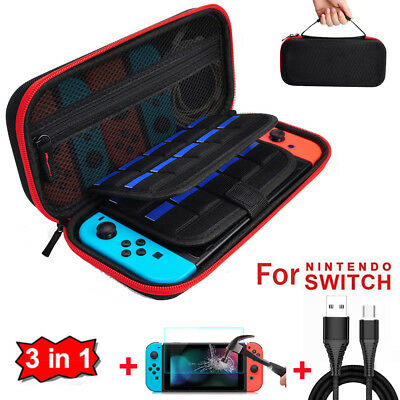 Hard Travel Carrying Case Storage Bag+Cable+Screen Protector For Nintendo Switch