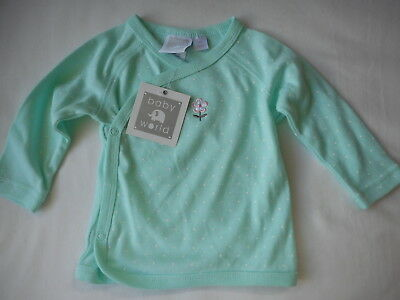 New Baby World Sweet Dreams Flower Detail Minty Green Wrap Top Sz 000 0-3 Months