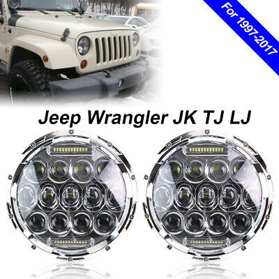"2PC LED Headlights Fits Jeep Wrangler JK 2 Door 2X 7"" inch Chrome DRL Lights"