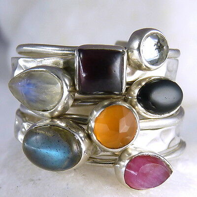 7-STACK SILVERSARI Size US 7.25 Solid 925 Sterling Silver MULTIGEM STR1003
