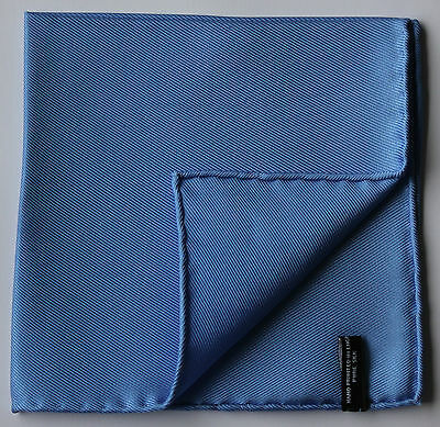 Blue Silk pocket square handkerchiefs. Hand rolled edges. Printed in England.