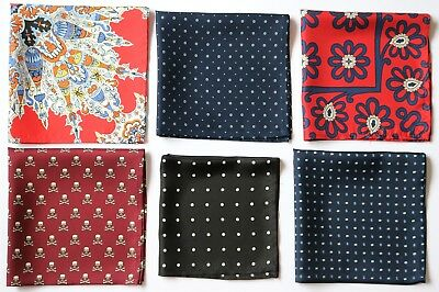 Hand printed Silk Pocket Square handkerchiefs. Various colours & patterns
