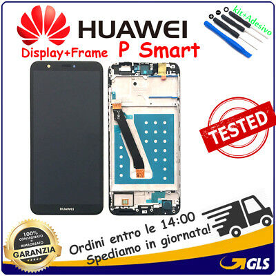 DISPLAY LCD +TOUCH SCREEN VETRINO + FRAME  per HUAWEI ( P SMART ) FIG-LX1 NERO