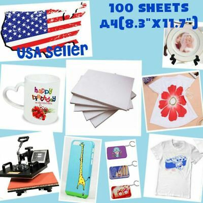 100 Sheet A4 Sublimation Heat Transfer Paper for Mug Cup Plate Cotton T- Shirt ~