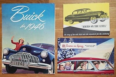 3 BUICK Brochures 1950  ALL SEASONS ARE SPRING & ALWAYS ON THE LEVEL & 1946