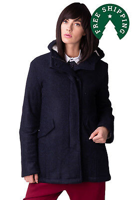 GEORGE J. LOVE Coat Size S Wool Blend Sherpa Inside Hooded Made in Italy RRP€215