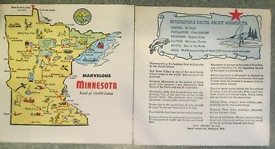 2 VINTAGE 1954 STATE of MINNESOTA MAP-NAP PAPER NAPKINS FACTS ON BACK ~ UN-USED