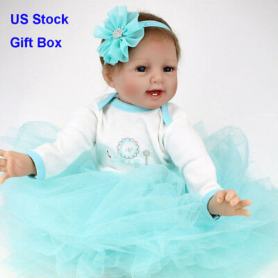 US STOCK Cute Smile Reborn Doll Rooted Mohair Silicone Reborn Baby Doll Toy NPK