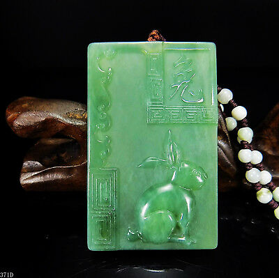 100% Natural Hand-carved Chinese Jade Pendant jadeite Necklace rabbit 371d