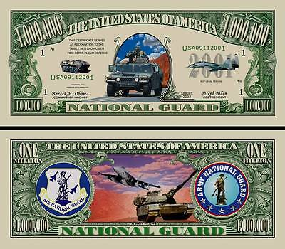 US National Guard Million Dollar Bill Funny Money Novelty Note with FREE SLEEVE