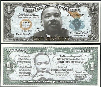 new Martin Luther King Million Dollar Bill Funny Money Novelty Note +FREE SLEEVE