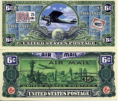 AirMail 6¢ Postage Dollar Bill Fake Play Funny Money Novelty Note + FREE SLEEVE