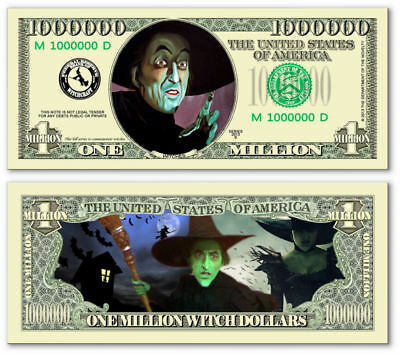 Wicked Witch of OZ Million Dollar Bill Funny Money Novelty Note + FREE SLEEVE