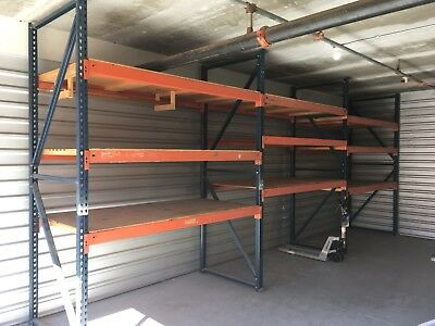 "PALLET RACKING - tear drop style Warehouse racks AND 5/8"" Wood Shelving"