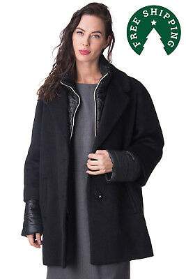 ENRICO COVERI Coat Size IT 52 / XXL Wool Blend Contrast Made in Italy RRP €420