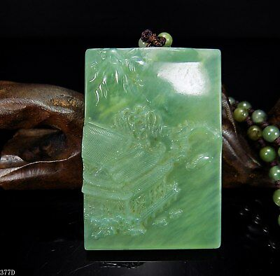100% Natural Hand-carved Chinese Jade Pendant jadeite Necklace scenery 377d