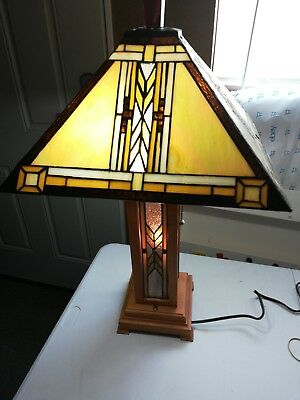 Vintage Arts & Crafts Mission Style Oak Stain Glass Tiffany Style Table Lamp 1