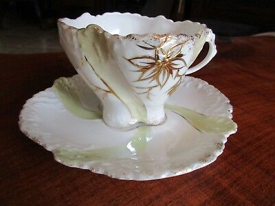 Raised paste gold and luster Pattern Cup and Saucer Hand Painted Vintage