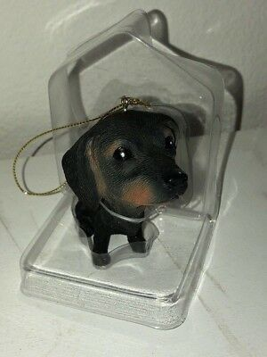 Big Head Dachshund Dog Christmas Ornament NIB 2013