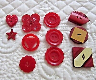 11 Mixed Red Buttons, Some Bakelite