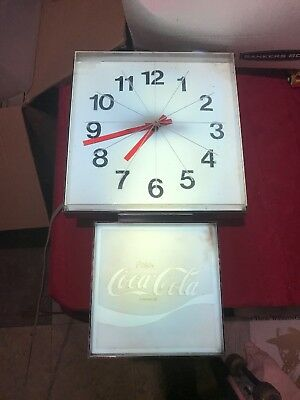 """Vintage Coca Cola Sign Electric Wall Clock with Light G-011 21"""" High AS-IS"""