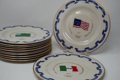 Rare Flags of America Plate Collection Pickard China Danbury Mint Set Colonial