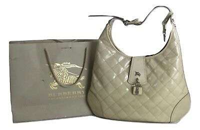 58d868a37b25 BURBERRY Hobo Beige Taupe Patent Leather Quilted Shoulder Handbag AUTHENTIC