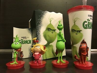 Der Grinch Topper 4 Figuren + Sammelbecher Set Kino Film Merch Popcorn Menü NEU