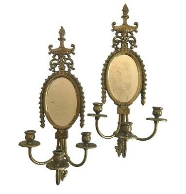 Sleek & Sophisticated Pair of Antique Louis XV Bronze Mirrored Wall Sconces