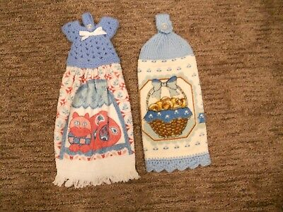 LOT of 2 Vintage Handmade Crocheted Kitchen Hand Towels