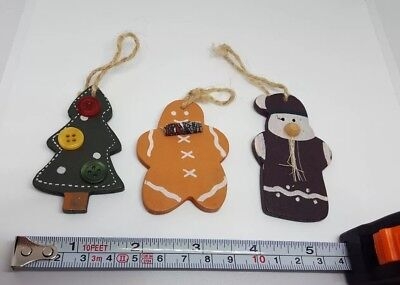 """3"""" Vintage Flat Wood Wooden Christmas ornaments Hand Painted - lot of 3, USED"""