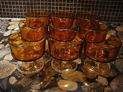 9 vintage LUMINARC CAVALIER YELLOW GLASS SHERBET DESSERT CUPS GLASSES