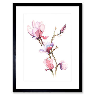 Flower Magnolia Watercolour Art Print Framed Poster Wall Decor