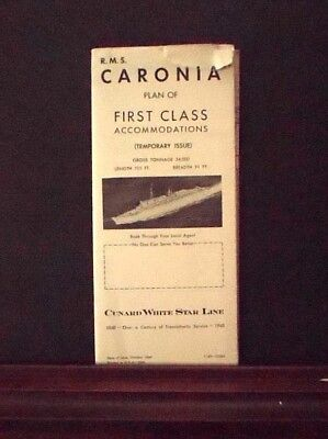 R.M.S. Caronia, First Class Accommodation 1948 Cunard White Star Line