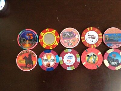Lot Of 10 5.00 Casino Chips