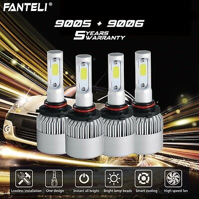 9005+9006 6000K CREE LED 3900W 585000LM Combo Headlight Kits High + Low Beam 6K