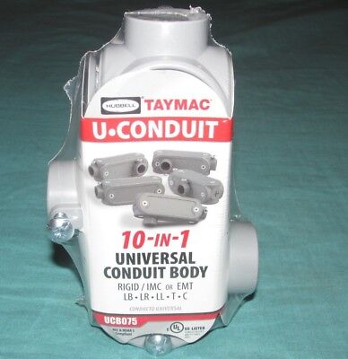 """NEW = HUBBELL TAYMAC 3/4"""" INCH 10 in 1 UNIVERSAL CONDUIT BODY = UCB075"""