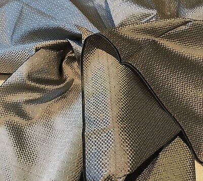 "Antique Vintage Victorian Silver Gray Silk Fabric 19.5"" Wide 1 Yard Long Unused"