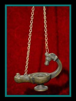 UNIQUE Ornate ANTIQUE BRONZE ROMAN Hanging OIL LAMP with HORSE HEAD HANDLE