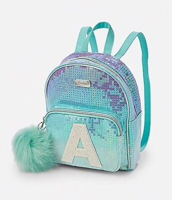NWT Justice Girls Ombre Sequin Initial MINI Backpack! You Choose Letter!