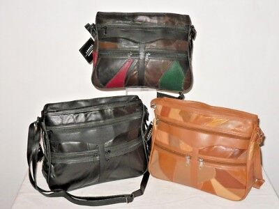 A Soft Patchwork Leather Shoulder Hand Bag With 6 Zip Sections Adjustable Strap