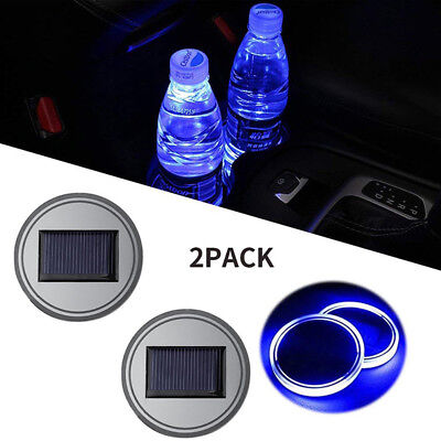 2PC Solar Cup Pad Car Accessories LED Light Cover Interior Decoration Lights TS