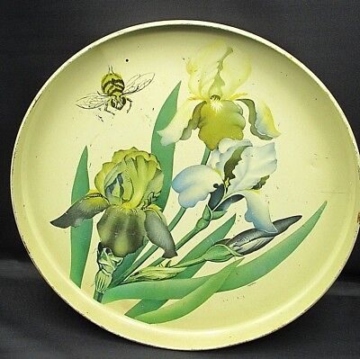 Vintage Old Shabby Tole Type Painted Iris & Bee Floral Metal Round Serving Tray